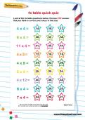 4 times table quick quiz worksheet