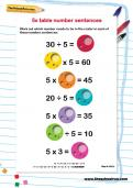 5 times table number sentences worksheet
