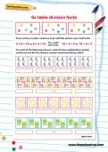 6 times table division facts worksheet