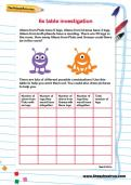 6 times table investigation activity