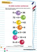 6 times table number sentences worksheet