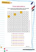 7 times table patterns worksheet