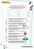7 times table word problems worksheet