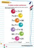 7 times table number sentences worksheet