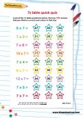 7 times table quick quiz worksheet