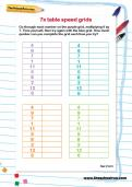 7 times table speed grids worksheet