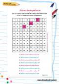 8 times table patterns worksheet
