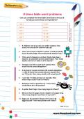 8 times table word problems worksheet