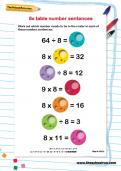 8 times table number sentences worksheet