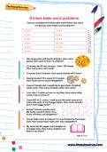 9 times table word problems worksheet