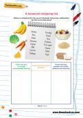 Balanced shopping list Y3 science worksheet
