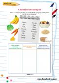Balanced shopping list Y3 science worksheet
