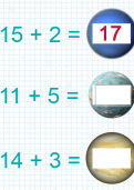 Adding a two-digit number and one-digit number under 20 tutorial