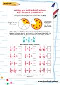 Adding and subtracting fractions with the same denominator worksheet