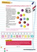 Adding and subtracting numbers under 10 worksheet