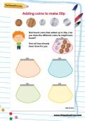 Adding coins to make 30p worksheet