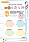 Adding coins to make 50p worksheet