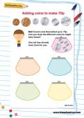 Adding coins to make 70p worksheet