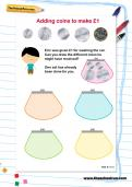 Adding coins to make £1 worksheet