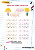 Adding more than two numbers cards worksheet
