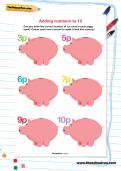 Adding numbers to 10 worksheet