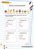 Adding up shopping lists worksheet