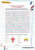 Addition and subtraction to 20 wordsearch