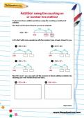 Addition using the counting on or number line method worksheet