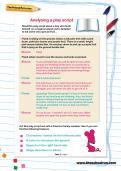 Analysing a play script worksheet