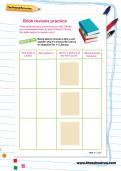 Book reviews practice worksheet