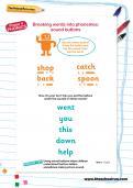 Breaking words into phonemes worksheet