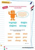 Breaking words into phonemes: sound button worksheet