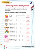 Breaking words into syllables worksheet