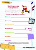 Building words with prefixes worksheet