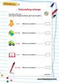 Calculating change worksheet