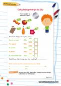 Calculating change to 20p worksheet