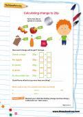 Calculating change to 20p worksheet