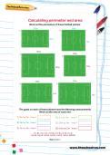 Calculating perimeter and area football worksheet