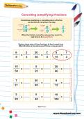Cancelling (simplifying) fractions worksheet