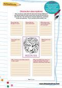 Character descriptions worksheet