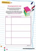 Choosing books to read worksheet