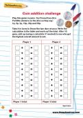 Coin addition challenge worksheet