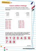 Column addition challenge worksheet