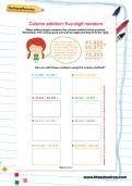Column addition: five-digit numbers worksheet
