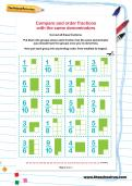 Compare and order fractions with the same denominators worksheet