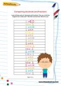 Comparing decimals and fractions worksheet
