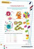 Comparing lengths in cm worksheet