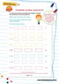 Complete number sequences worksheet