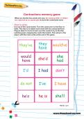 Contractions memory game worksheet