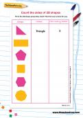 Count the sides of 2D shapes worksheet